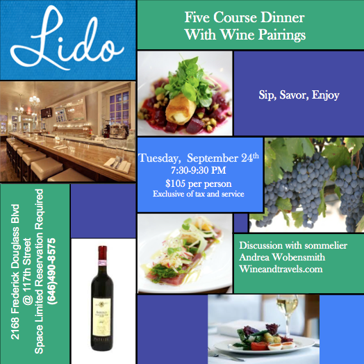 Five Course Dinner With Wine Pairings at Lido on Tuesday, September 24th